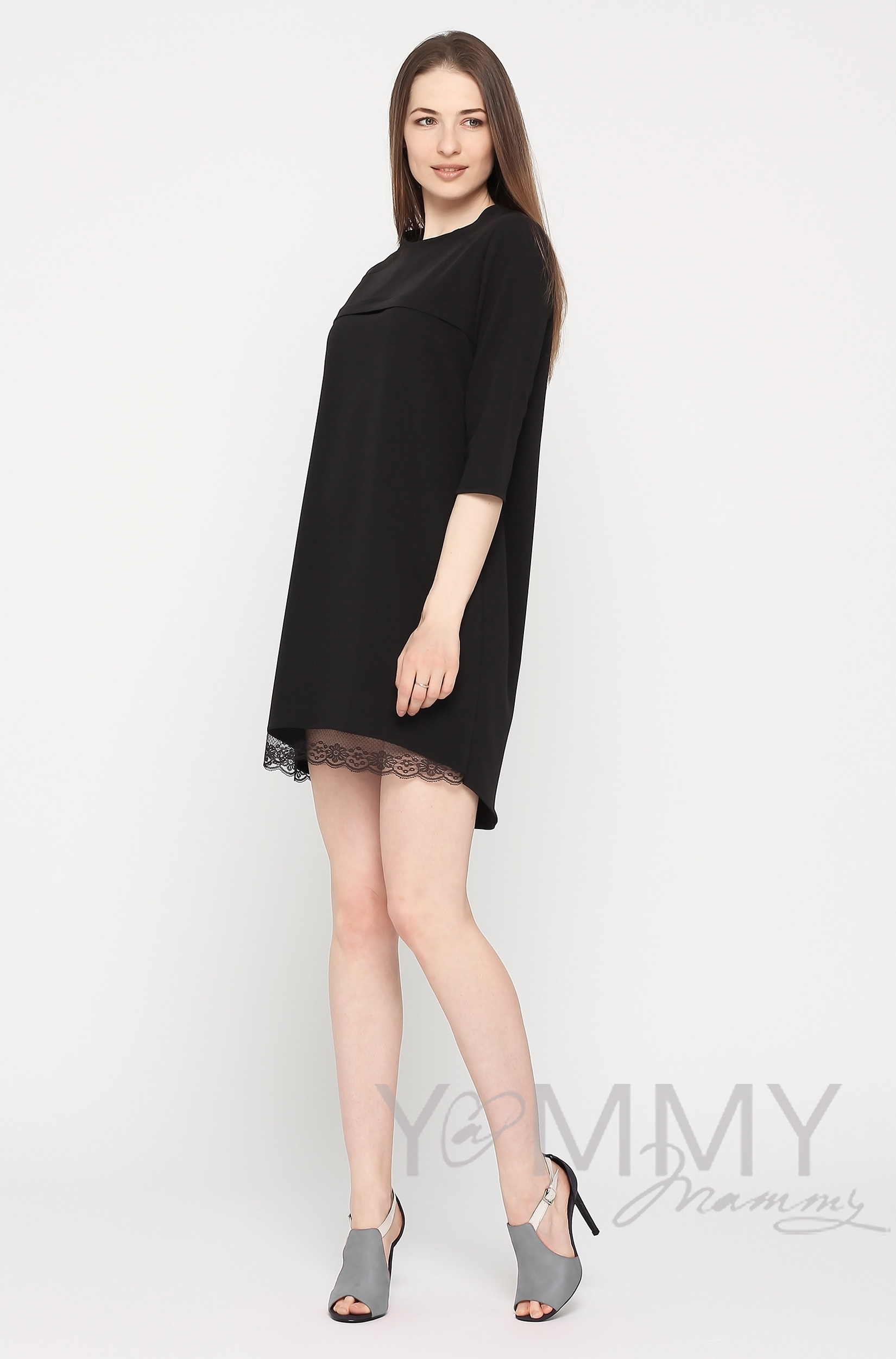 Платье для кормящих и беременных с кружевом, черное