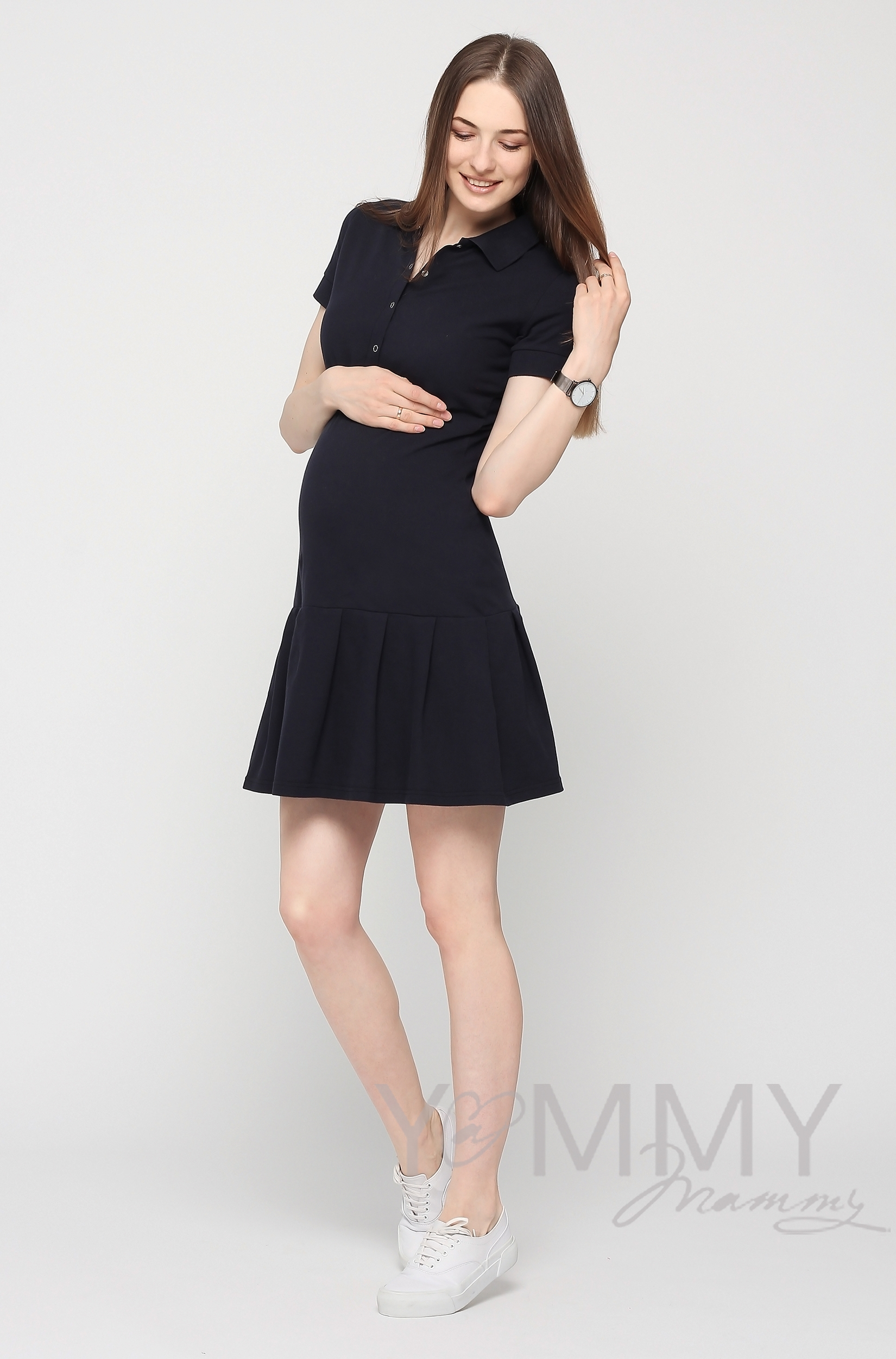 Платье поло для кормящих и беременных с воланом, темно-синее