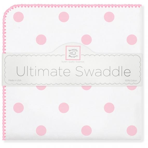 Фланелевая пеленка для новорожденного SwaddleDesigns Ultimate Big Dots Pink