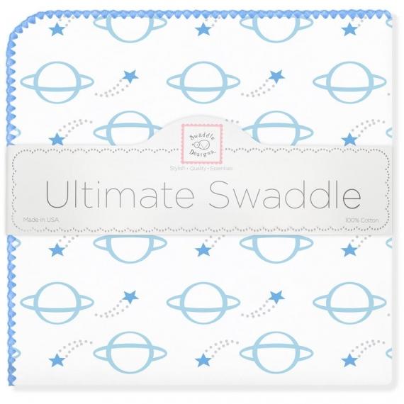 Фланелевая пеленка для новорожденного SwaddleDesigns Ultimate Planets Blue