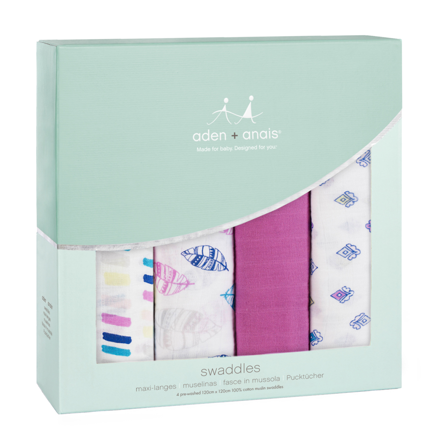 Муслиновые пеленки для новорожденных Aden&Anais большие, набор 4, Wink