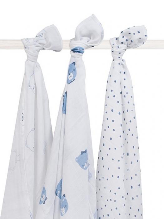 Муслиновые пеленки для новорожденных Jollein большие, Funny Bear Blue