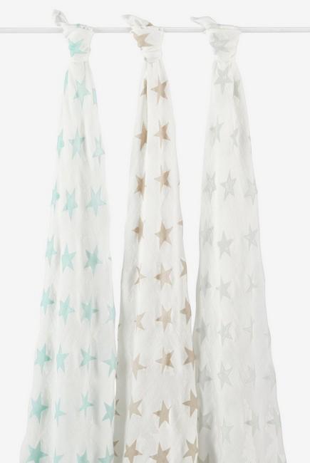 Бамбуковые пеленки для новорожденных Aden&Anais большие, набор 3, Milky Way