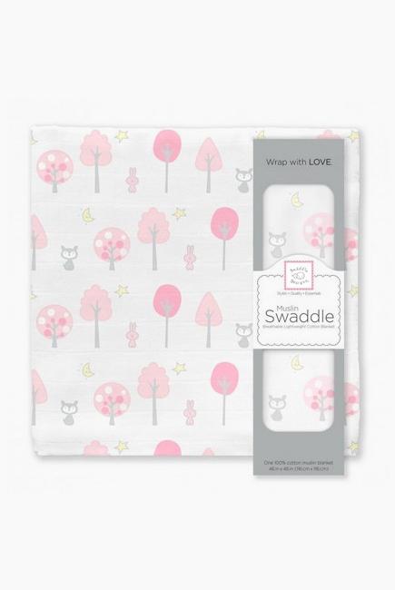 Муслиновая пеленка для новорожденных Swaddle Designs большая, Pink Thicket