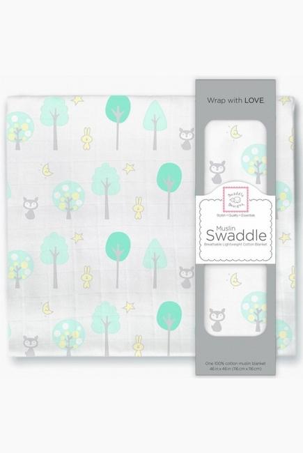 Муслиновая пеленка для новорожденных Swaddle Designs большая, Green Woodland