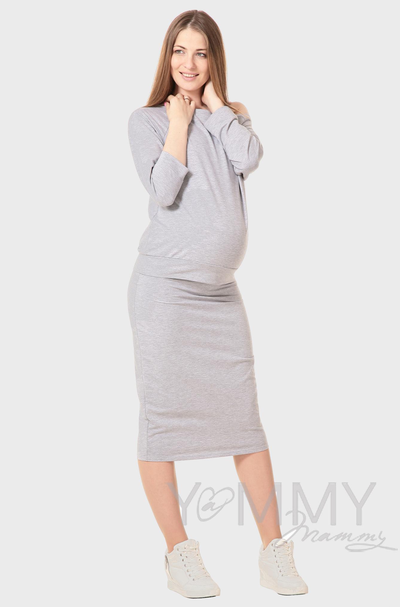 Юбка-карандаш для родивших и беременных универсальная, серый меланж