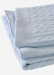 """Jollein вязаный плед с мехом для новорожденных (косичка), цвет """"светло-голубой"""""""
