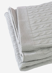 """Jollein вязаный плед с мехом для новорожденных (косичка), цвет """"светло-серый"""""""