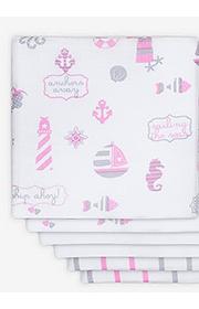 Комплект муслиновых пеленок для новорожденных Jollein, Girls at sea (Девочки на море)