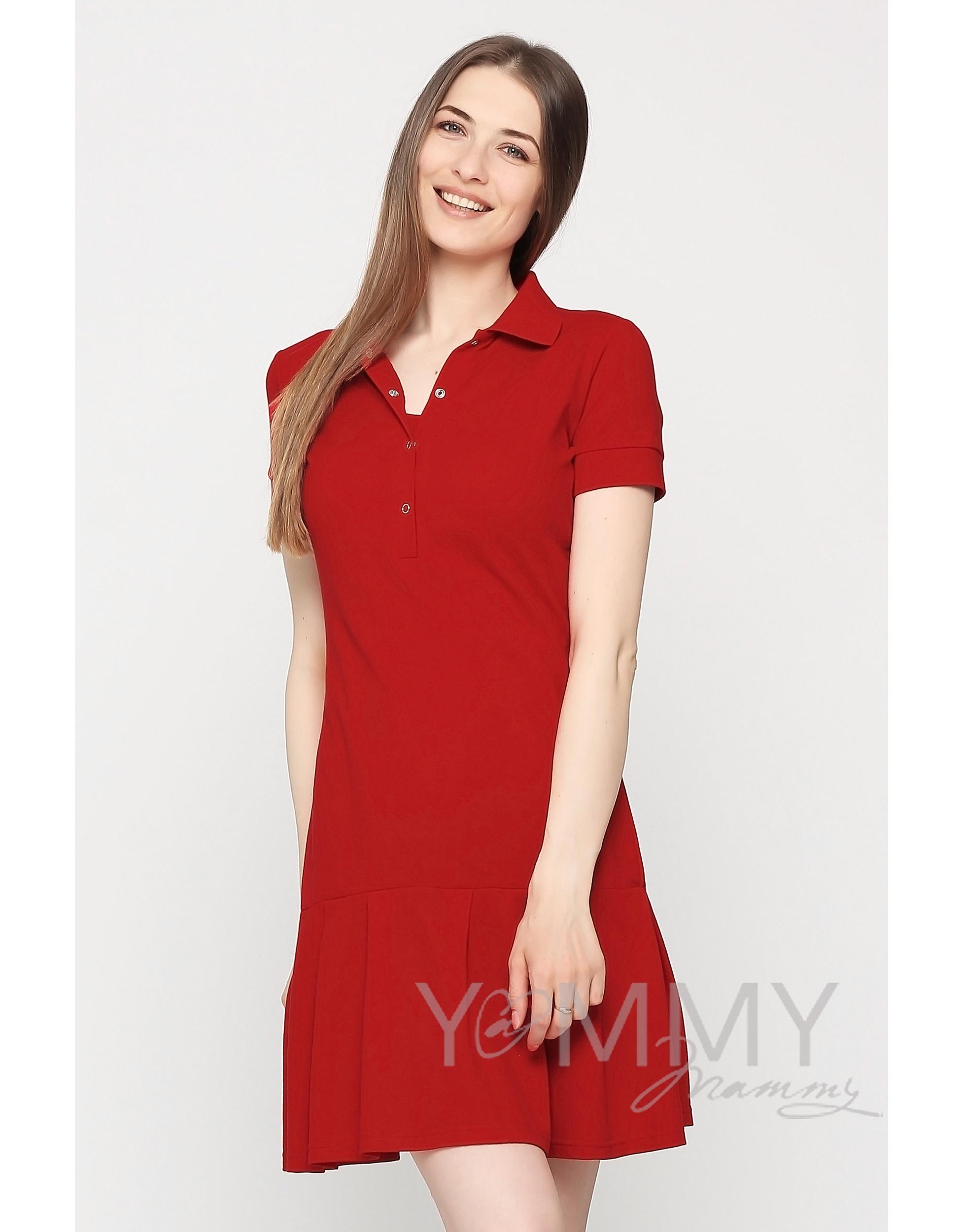 5eef116d09c Платье для кормящих и беременных поло с воланом