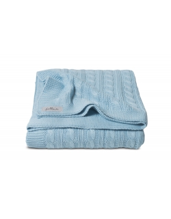 """Вязаный плед для новорожденных Jollein (косичка), """"светло-голубой"""", средний"""