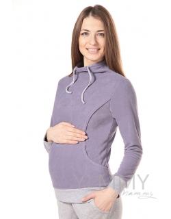 Толстовка для кормящих и беременных флисовая с завязками, цвет лаванда