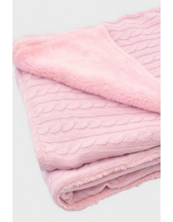 Вязаный плед для новорожденных Jollein (косичка), розовый, средний