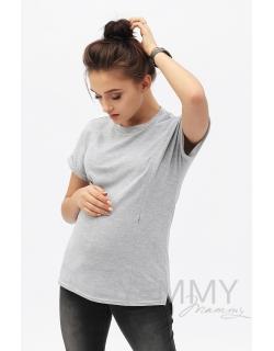 Футболка для кормящих и беременных, цвет серый меланж