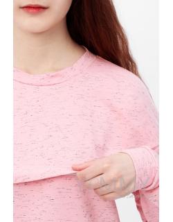 Свитшот для беременных и кормящих с лентами, розовый