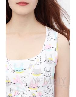 Комплект халат с сорочкой ментол с принтом зайчики/котики