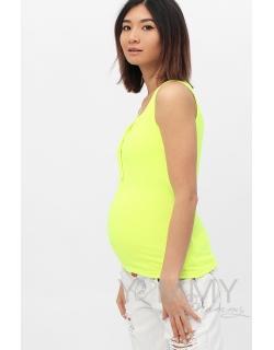 Майка поло для кормящих и беременных, желтый неон
