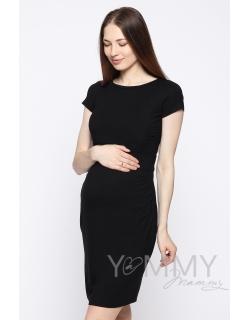 Платье для кормящих и беременных из модала с коротким рукавом, черное