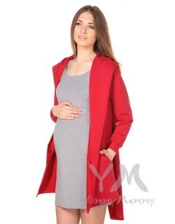Кардиган с капюшоном для беременных и кормящих, красный
