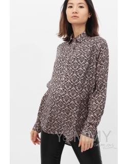 Рубашка для кормящих и беременных с узором, бежевая