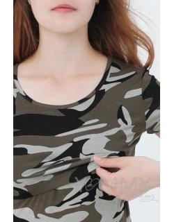 Футболка для беременных и кормящих милитари, хаки
