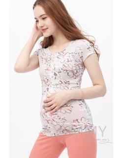 Пижама персиковая с цветочным принтом