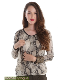 Топ для кормления Mothers en Vogue Printed Front-Zip Slouchy, змеиный принт