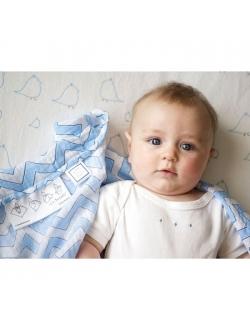 Пеленка детская тонкая SwaddleDesigns Маркизет Blue Chevron