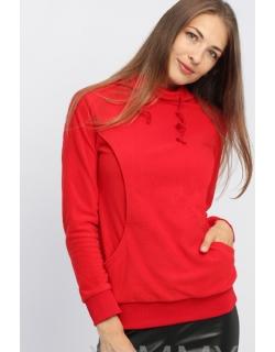 Толстовка для кормящих и беременных флисовая с завязками, цвет красный