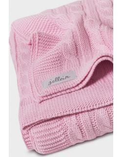 """Вязаный плед для новорожденных (косичка) Jollein, """"светло-розовый"""", большой"""