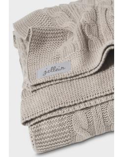 """Вязаный плед для новорожденных (косичка) Jollein, цвет """"песочный"""", большой"""