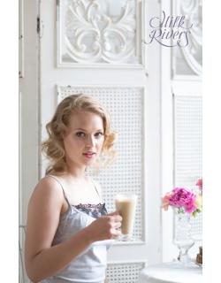 Маечка с кружевом для беременных и кормящих Milk Rivers серый меланж