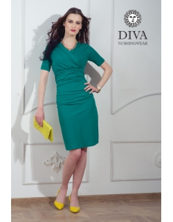 Платье для кормящих и беременных Diva Nursingwear Lucia кор.рукав, Smeraldo
