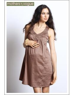 """Платье Mothers en Vogue """"Ara Embroidered"""", цвет бежевый"""