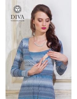 Платье для кормящих и беременных Diva Nursingwear Alba дл.рукав, принт Iceberg