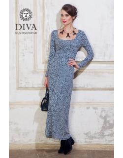 Платье для кормящих и беременных Diva Nursingwear Alba Maxi дл.рукав, принт Domino
