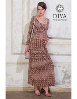 Платье для кормящих и беременных Diva Nursingwear Alba Maxi дл.рукав, принт Sole