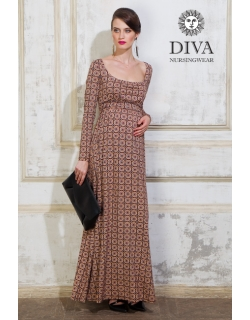 Платье для кормящих и беременных Diva Nursingwear Stella Maxi дл.рукав, принт Sole