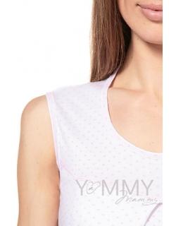 Сорочка белая в розовый горошек