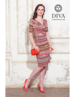 Платье для кормящих и беременных Diva Nursingwear Lucia кор.рукав, принт Etna