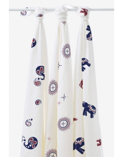 Бамбуковые пеленки для новорожденных Aden&Anais большие, набор 3, Diwali