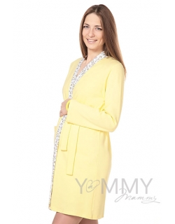 Комплект халат с сорочкой желтый с цветочками