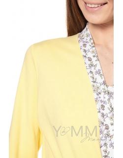 Халат желтый с отделкой цветочный принт