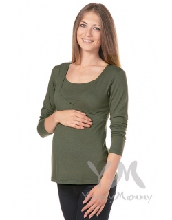 Туника трапеция для кормящих и беременных, цвет хаки