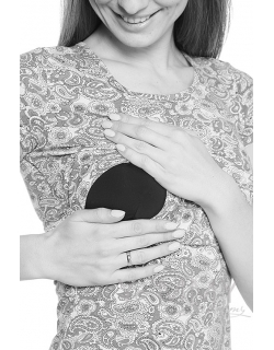 Футболка с узором для беременных и кормящих, голубая