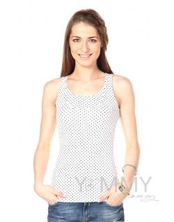 Майка для беременных и кормящих, цвет белый в горошек