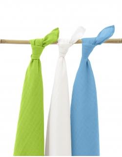 Муслиновые пеленки для новорожденных Jollein большие, lime/aqua/white