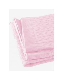 """Jollein вязаный плед с мехом для новорожденных (косичка), цвет """"светло-розовый"""""""