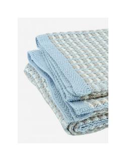"Jollein вязаный плед для новорожденных, цвет ""blue/sand/off-white"""