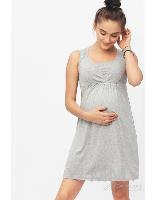 103b713089c5584 Ночная сорочка для беременных и кормящих, цвет серый меланж - цена ...